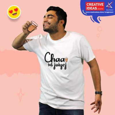 Chaa Toh Joiyej White Tshirt by Viraj Ghelani