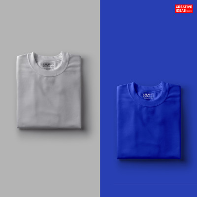 Pack Of 2 Solid T-Shirts Melange Grey and Blue