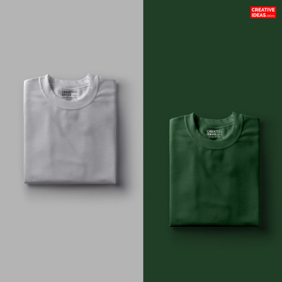 Pack Of 2 Solid T-Shirts Melange Grey and Green