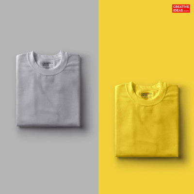Pack Of 2 Solid T-Shirts Melange Grey and Yellow