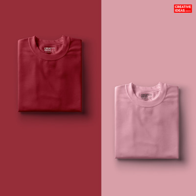 Pack Of 2 Solid T-Shirts Pink and Maroon