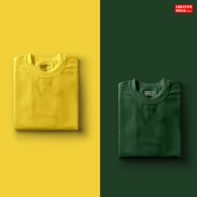 Pack Of 2 Solid T-Shirts Green and Yellow