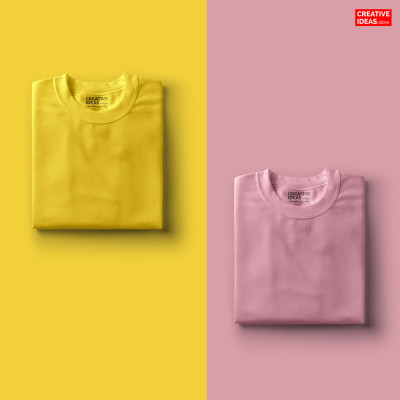 Pack Of 2 Solid T-Shirts Pink and Yellow