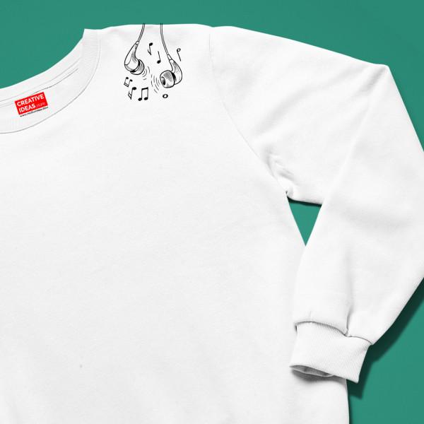 Musical Notation White Unisex 100% Cotton Sweatshirt