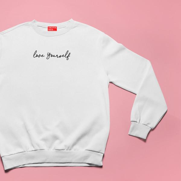 Love Yourself White Unisex 100% Cotton Sweatshirt
