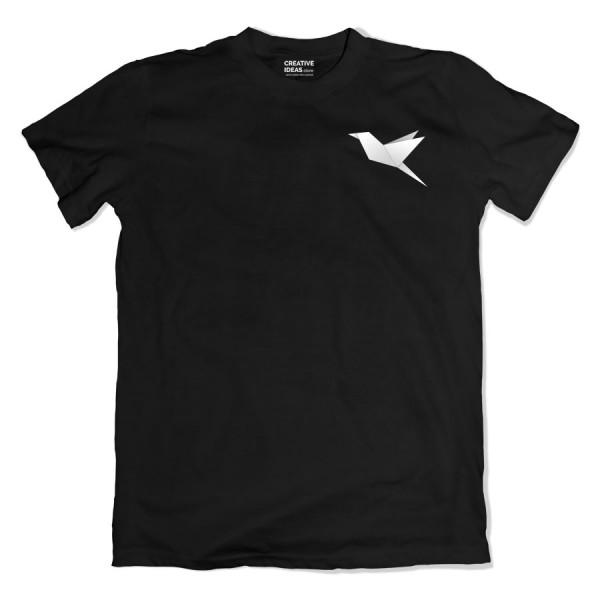 Origami Bird Black Tshirt