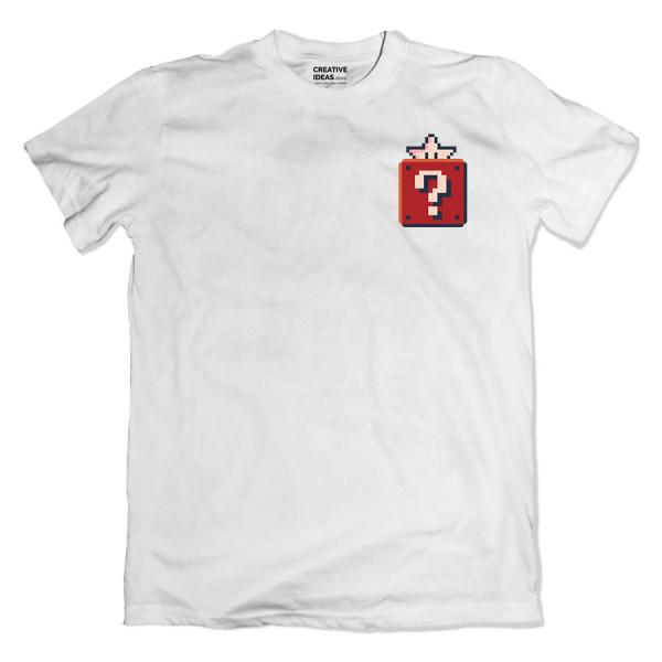 Mario Pixel Star White Tshirt