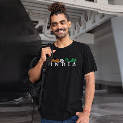India Skyline - Independence Day Tshirt Black