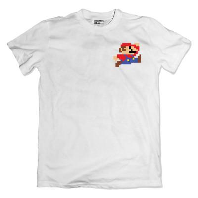 Mario Pixel White Tshirt