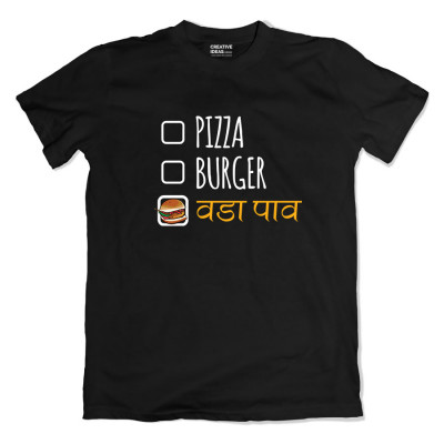 Pizza Burger Vada Pav Black Tshirt