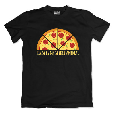Pizza Is My Spirit Animal Black Tshirt