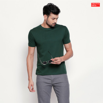 Green Plain Tshirt | 100% Cotton Bio-washed