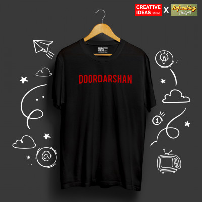 Doordarshan Black 90s Tshirt