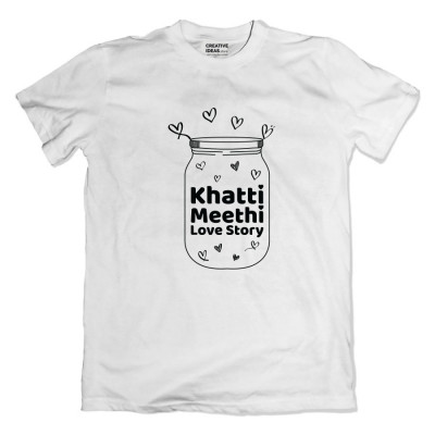 Khatti Mitthi Love Story White Tshirt by Golkeri Gujarati Movie