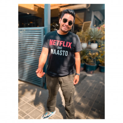 Netflix and Naasto Black Tshirt by Viraj Ghelani