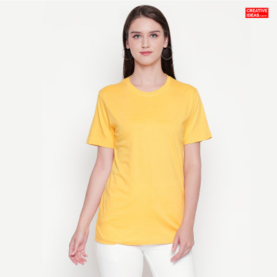Yellow Plain Tshirt | 100% Cotton Bio-washed