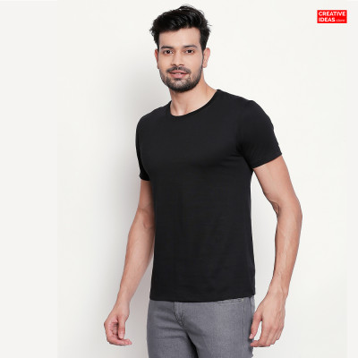 Black Plain Tshirt | 100% Cotton Bio-washed