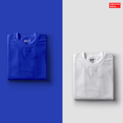 Pack Of 2 Solid T-Shirts Blue and White