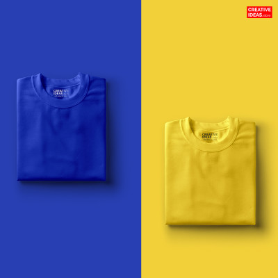Pack Of 2 Solid T-Shirts Blue and Yellow