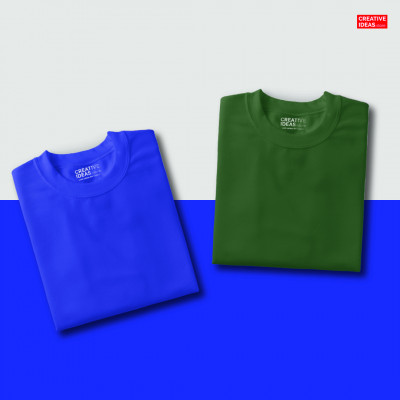 Pack Of 2 Solid T-Shirts Blue and Green