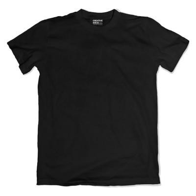 Black Plain Tshirt | 100% Cotton Bio-washed