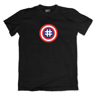 Hashtag Captain America Black Tshirt