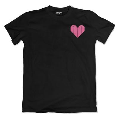 Origami Heart Black Tshirt