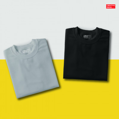 Pack Of 2 Solid T-Shirts Grey and Black