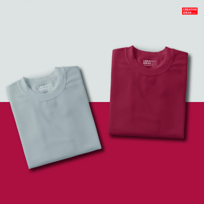 Pack Of 2 Solid T-Shirts Grey and Maroon