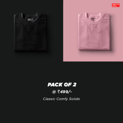 Pack Of 2 Solid T-Shirts Pink and Black