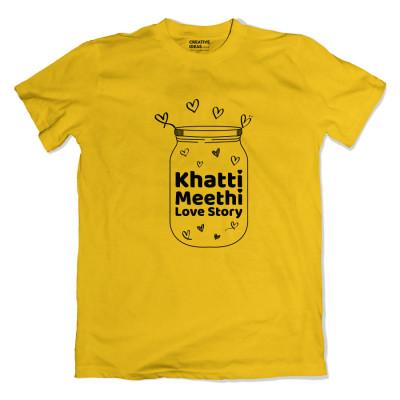 Khatti Mitthi Love Story Yellow Tshirt by Golkeri Gujarati Movie