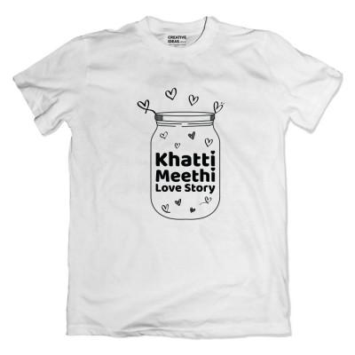 Khatti Mitthi Love Story White Tshirt by Golkeri Gujarati Movie