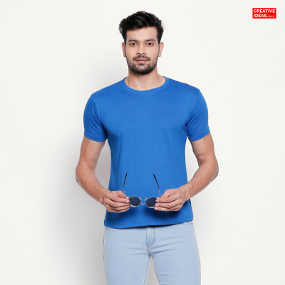 Blue Plain Tshirt | 100% Cotton Bio-washed