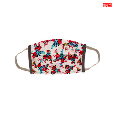 Reusable Super Mask with Red Flower Print (pack of 3)