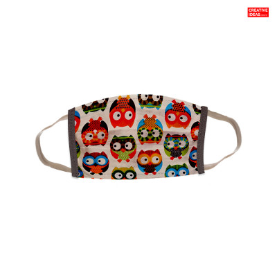 Reusable Super Mask with Colorful Owl Print (pack of 3)