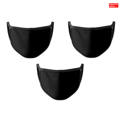 Donate & Get 3 Layer Plain Black Cotton Reusable Super Mask (pack of 3)