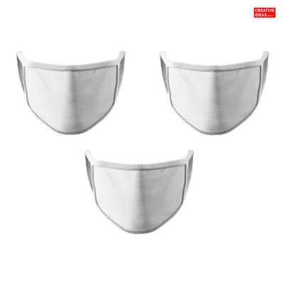 Plain White Cotton Reusable Super Mask (pack of 3)