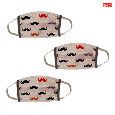 Donate & Get Reusable Super Mask with Mustache Print (pack of 3)
