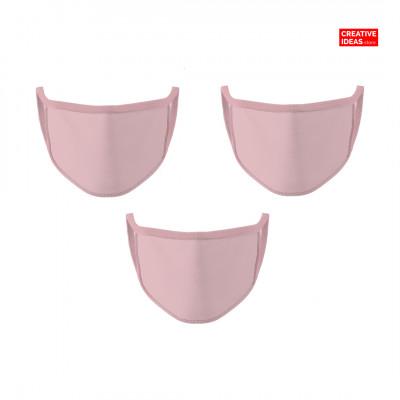 Donate & Get Plain Pink Cotton Reusable Super Mask (pack of 3)