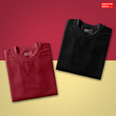 Pack Of 2 Solid T-Shirts Black and Maroon
