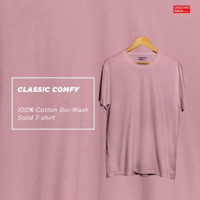 Pink Plain Tshirt | 100% Cotton Bio-washed