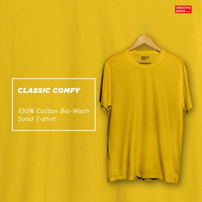 Yellow Plain Tshirt | 100% Cotton Bio-washed