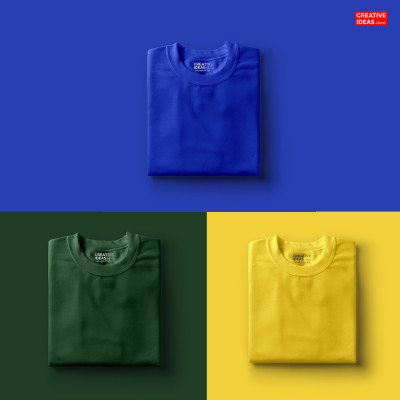 Pack Of 3 Solid T-Shirts Blue, Green & Yellow
