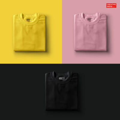 Pack Of 3 Solid T-Shirts Yellow, Pink & Black