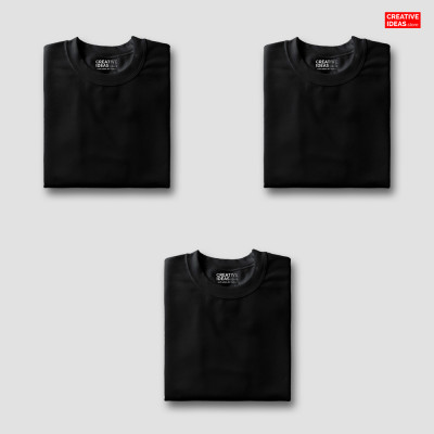 Solid Black T-Shirt Pack Of 3