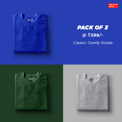Pack Of 3 Solid T-Shirts Blue, Green & Grey