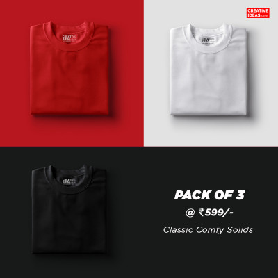 Pack Of 3 Solid T-Shirts Red, White & Black