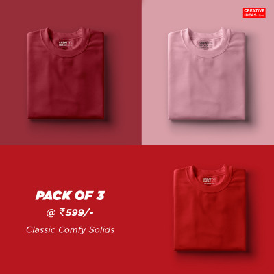 Pack Of 3 Solid T-Shirts Maroon, Pink & Red