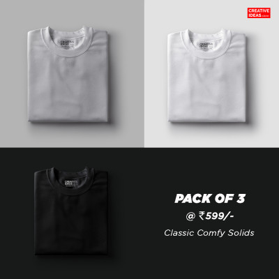 Pack Of 3 Solid T-Shirts Grey, White & Black