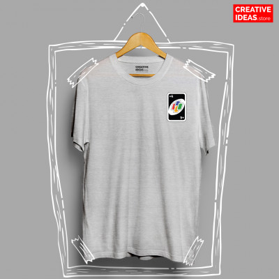 Uno Draw Four Grey 90s Tshirt